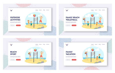 Family Beach Volleyball Landing Page Template Set. Parents and Children Playing on Sea Shore. Happy Characters Game Иллюстрация