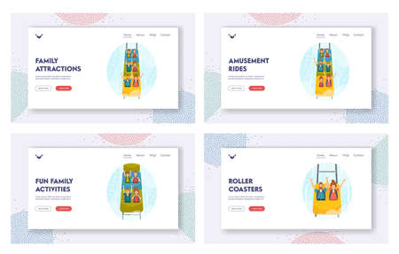 Family Attractions Landing Page Template Set. Excited Characters Riding Roller Coaster in Amusement Park, Rollercoaster Иллюстрация