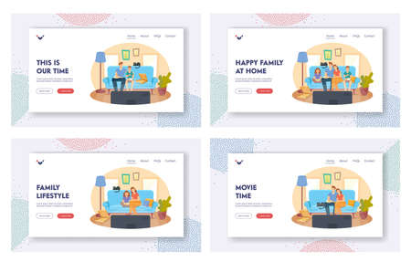 Happy Family at Home Landing Page Template Set. People Watching TV and Eating Pizza, Kids and Parents Characters Day Off Иллюстрация