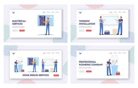 Home Repair Services Landing Page Template Set. Handyman Fixing Sink in Bathroom, Workers Characters Install Window