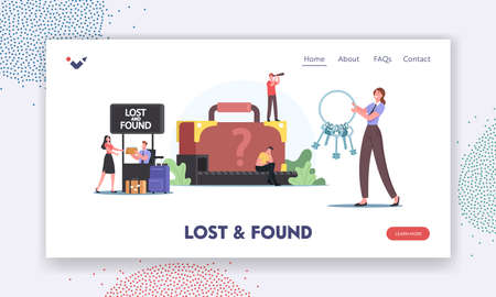 Lost and Found Landing Page Template. Travelers Characters Claim Baggage on Airport Conveyor Belt. Upset Passengers