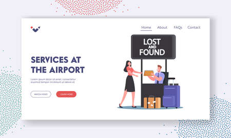Airport Service Landing Page Template. Traveler Woman Claim Bag in Lost and Found Office. Passenger Lose Baggage