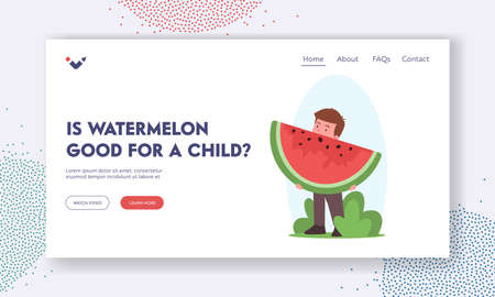 Little Boy Eat Watermelon Slice Landing Page Template. Child Character Eating Summer Fruits, Healthy Nutrition Иллюстрация