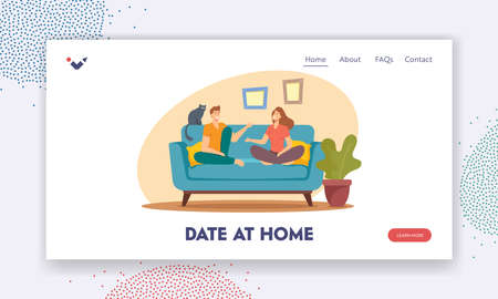 Date at Home Landing Page Template. Young Man and Woman Characters Sitting on Sofa Have Conversation Иллюстрация
