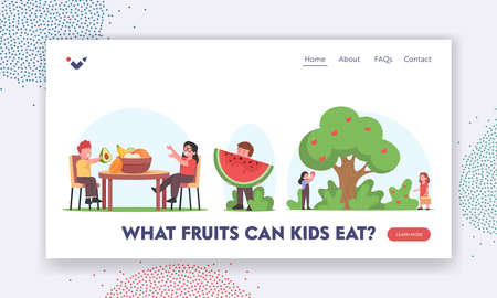 Kids Eating and Harvesting Fruits Landing Page Template. Little Children Pick Apples, Sit at Table with Fresh Fruits Иллюстрация