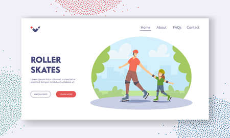 Roller Skates Landing Page Template. Happy Family Riding at City Park. Young Father and Little Daughter Active Sport