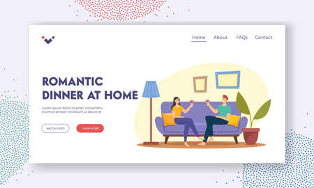Romantic Dinner at Home Landing Page Template. Young Loving Couple Characters Spend Time Sitting on Couch Chatting, Drinking Wine. Love, Flirting Sparetime, Meeting. Cartoon People Vector Illustration Иллюстрация