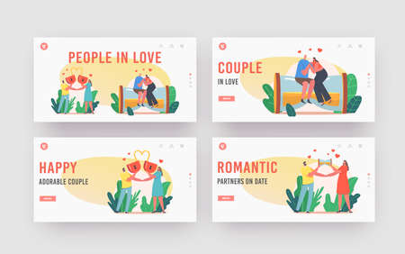 People in Love Landing Page Template Set. Happy Couples Relations, Loving Male Female Characters with Heart Lock Dating