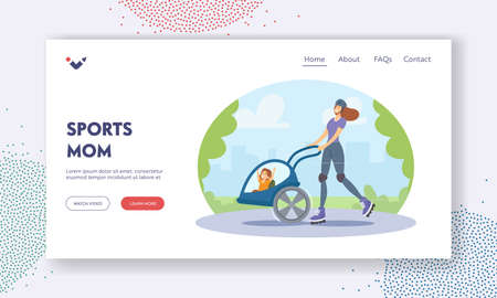 Sports Mom Landing Page Template. Young Roller Woman with Child in Stroller Riding in City Park. Active Mother with Baby