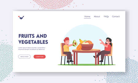 Fruits and Vegetables Landing Page Template. Children Characters Sit at Table Eat Raw Orchard Apples, Avocado, Orange