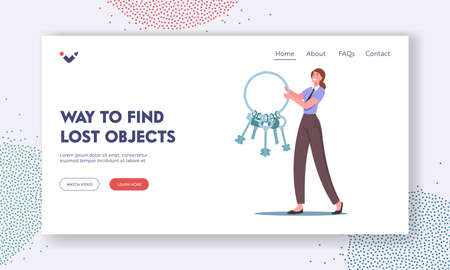 Way to Find Lost Objects Landing Page Template. Tiny Woman in Uniform Carry Huge Bunch of Keys. Lost and Found Service