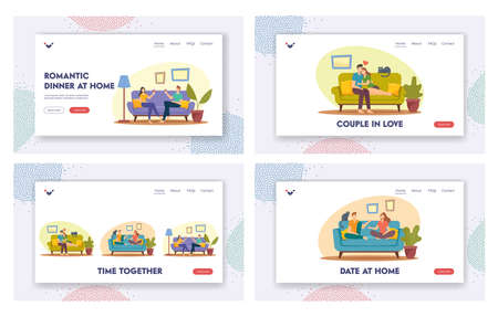 Happy Couples Spend Time Landing Page Template Set. Man and Woman Sitting on Sofa at Home, Drink Wine, Hug, Chatting