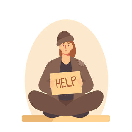 Bum in Ragged Clothes Sitting on Ground Begging Money, Homeless Woman Holding Banner Need Help, Unemployed Character Иллюстрация