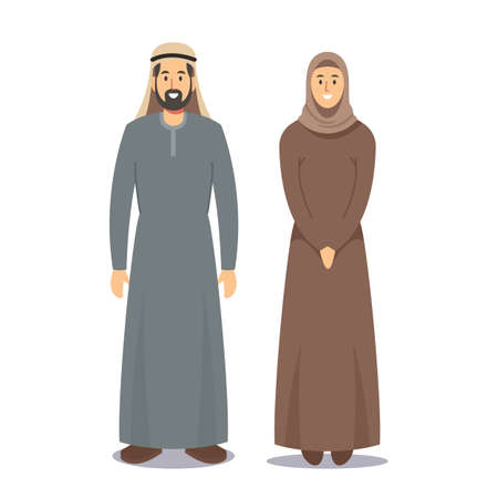 Man and Woman Arabic People. Bearded Arabian Male Character Dressed in Traditional National Costume and Girl in Hijab