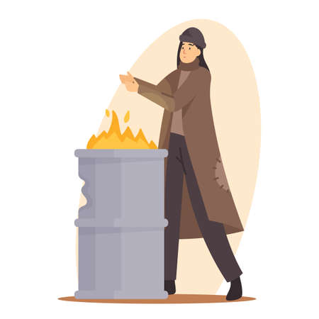 Sad Woman Beggar Warming Hand on Fire Burning in Metal Barrel, Female Character Wearing Ragged Clothing Living on Street