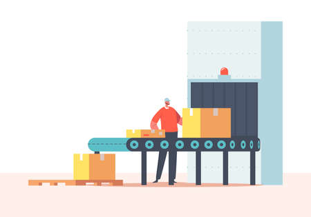 Worker Packing Cargo on Conveyor Belt with Cardboard Boxes. Factory, Plant, Warehouse with Automated Production Line Иллюстрация