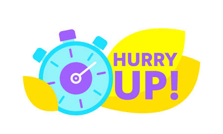 Hurry Up Countdown with Stopwatch. Special Offer Promotion, Banner or Icon with Time Alarm. Great Deal, Last Minute Sale