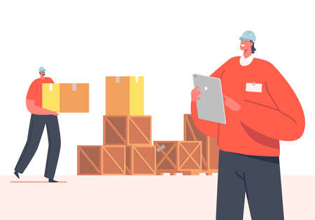 Storehouse Distribution Concept. Inventory Manager Character Accounting Goods Lying in Carton Boxes in Warehouse Иллюстрация