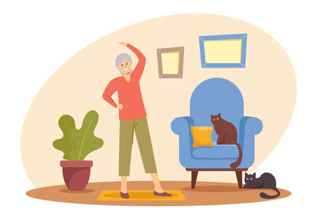 Happy Pensioner Woman Hobby and Healthy Lifestyle, Senior Female Character Exercising at Home. Aged Woman Engaged Sport Иллюстрация