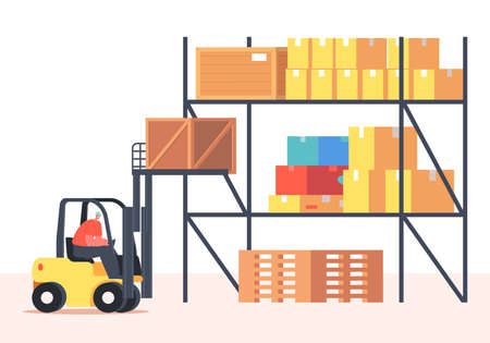 Worker Lifting Cargo on Forklift Machine in Warehouse. Freight Shipping and Logistics. Employee Characters in Uniform Иллюстрация