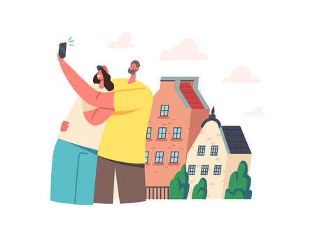 Young Couple Making Selfie on Phone front of their New House or Foreign City Street. Happy Characters Shoot Portraits