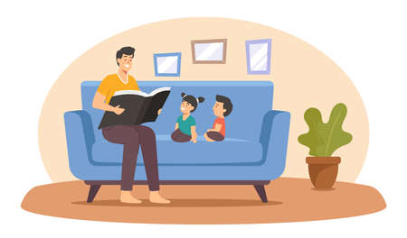 Father Reading Book to Kids, Happy Family Characters Spend Time Together at Home, Parent Read to Children, Sparetime Иллюстрация