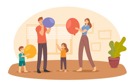 Happy Family Characters Parents and Little Kids Blow Balloons for Room Decoration. Birthday or Holiday Celebration