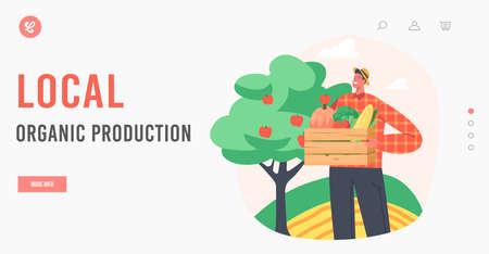 Local Organic Production Landing Page Template. Man Farmer Harvesting Ripe Fruits and Vegetables. Gardener Harvesting