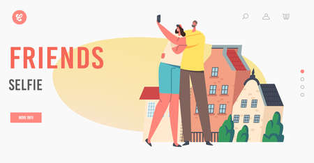 Friends Make Selfie Landing Page Template. People with Phone front of Houses on Street. Happy Characters Shoot Portrait