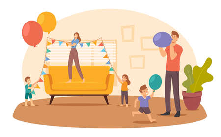 Happy Family Decorate Living Room Hanging Garlands and Blow Balloons for Birthday or Event Celebration. Parents and Kids