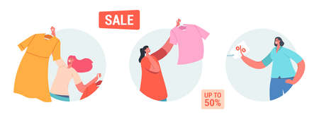 Set of Icons Sale and Discount. Happy Female Characters Shopping Recreation. Women Buying Fashionable Apparel Dresses