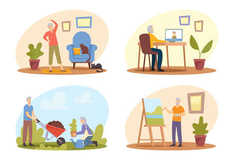 Set Elderly People Hobby. Old Male Female Characters Sport Exercising, Painting, Gardening and Communicate by Internet