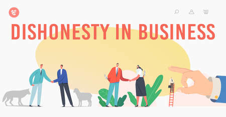 Dishonesty in Business Landing Page Template. Trickery People Betrayal. Characters with Knife Shake Hand, Sheep and Wolf Иллюстрация