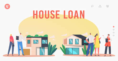 House Loan Landing Page Template. People Buying Real Estate, Mortgage or Home Purchase. Agent Show Cottage to Characters