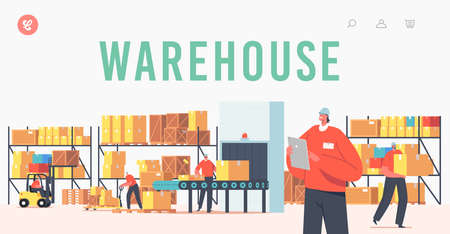 Warehouse Landing Page Template. Workers Characters Loading, Stacking Goods with Forklift. Accounting and Packing Cargo Иллюстрация