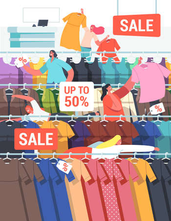 Buyers Female Characters at Seasonal Sale or Discount. Cheerful Shopaholic Grab Apparel from Store Hangers, Shopping Иллюстрация