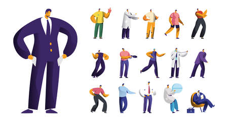 Set of Male Characters, Businessman Bankrupt with Empty Pockets, Sports Fan Wear Glove, Medicine Doctor and Dancer