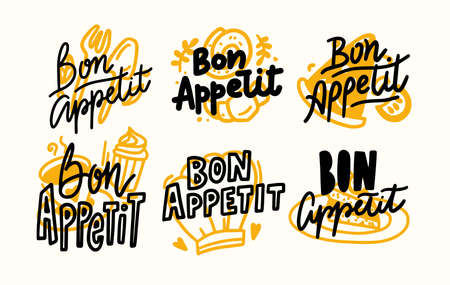 Set of Icons Bon Appetit Lettering, Written Food Poster with Doodle Design Elements, Hand Drawn Quotes, Print for Menu