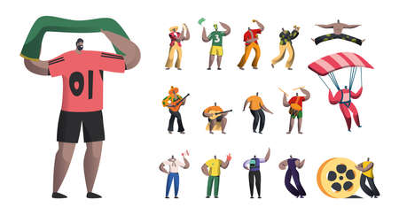 Set of Male Characters, Sports Fan with Flag, Brazil Carnival Musicians with Maracas, Men Dancers and Mariachi Players