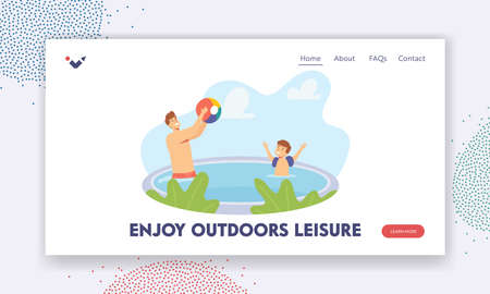 Dad and Boy Enjoy Outdoor Leisure Landing Page Template. Father and Son Playing in Swimming Pool Throwing Beach Ball