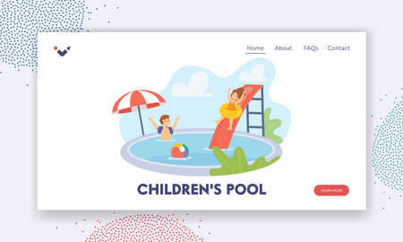Children in Swimming Pool Landing Page Template. Boy and Girl Characters Having Fun on Summer Vacation, Kids Joy
