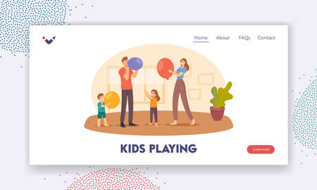 Kids Playing Landing Page Template. Happy Family Characters Parents and Little Children Blow Balloon for Room Decoration