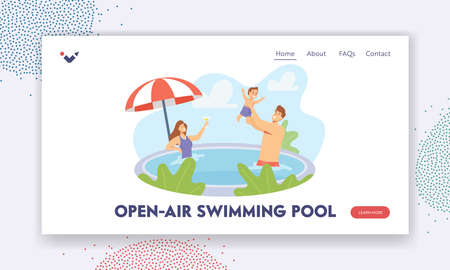 Open Air Swimming Pool Landing Page Template. Happy Family Holidays. Parents and Little Child Characters Playing