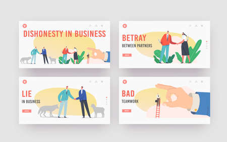 Betrayal, Dishonesty in Business Landing Page Template Set. Characters with Knives Shake Hand, Sheep and Wolf Friendship