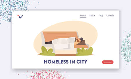 Homeless in City Landing Page Template. Poor Bum Male Character in Ragged Clothes Sleeping on Bench Covered with Paper Иллюстрация