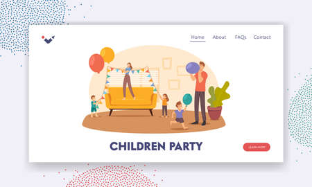 Children Party Landing Page Template. Happy Family Decorate Room Hanging Garlands and Blow Balloons for Celebration