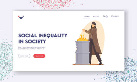 Social Inequality in Society Landing Page Template. Sad Woman Beggar Warming Hands on Fire Burning in Metal Barrel