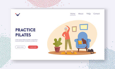 Pensioner Practice Pilates Landing Page Template. Happy Woman Healthy Life, Senior Female Character Exercising at Home Иллюстрация