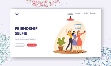Friendship Selfie Landing Page Template. Cheerful Women Make Photo on Mobile Phone Posing on Camera. Friends Recreation Иллюстрация