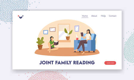 Joint Family Reading Landing Page Template. Mother and Daughter Reading Books at Home. Happy Characters Spare Time Иллюстрация